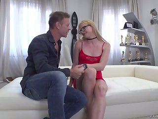Rocco lets all natural blond head with small tits Jade R sit on face