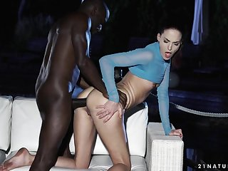 Babe learns to take big black cock in her ass