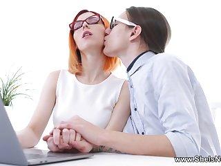 Geek Dude Fucks Nerdy Redhead Skinny Girl - Xozilla Porn Movies