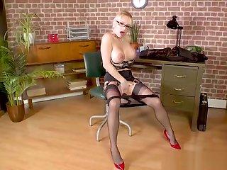 Blonde big tits Secretary wanks on desk in nylons and heels