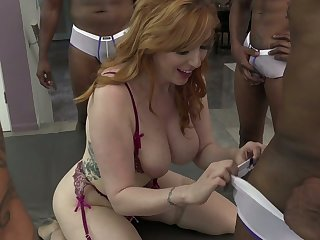 White and black dudes fuck big bottomed and busty bitch Lauren Phillips