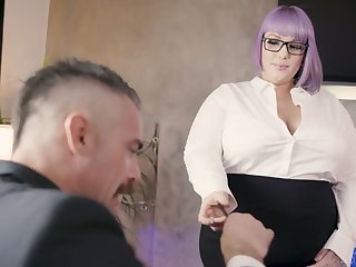 Nasty BBW secretary seduces and fucks her handsome boss Charles Dera
