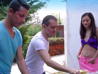 Shrima Malati enjoys hardcore threesome with two horny dudes