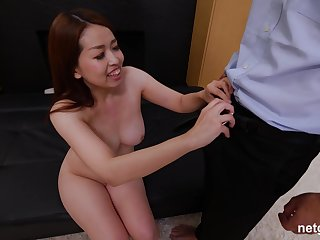 Redhead Asian MILF Yui strips and fucks two guys at once