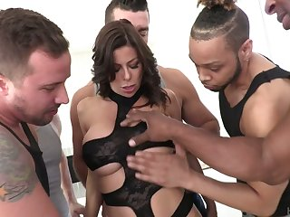 Perverted Alexis Fawx is ready for hard double penetration and mouthfuck