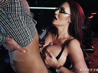 Busty bombshell stripper Emma Butt gets cum on her huge tits