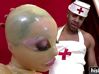 Clinic Babe Gets Machine Plowed Hard - interracial