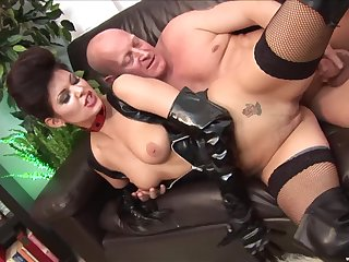 The black leather makes Lucie Love hornier for her friend's penis