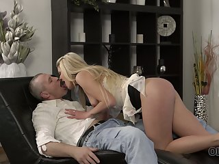 Ugly old pervert pounds soaking pussy of fresh Czech hottie Claudia Mac