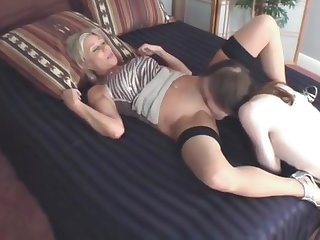 Mommy's Well Endowed Son Cums On Her Stockings
