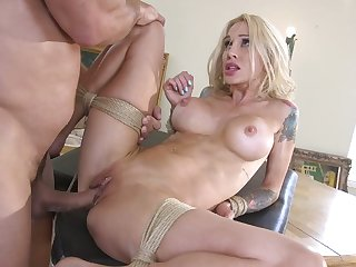 Real bondage hooker Sarah Jessie feels right about some wild polishing of pierced pussy