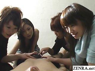 CFNM handjob with cumshot by group of Japanese women