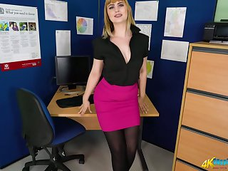 Astonishing alone secretary Elle desires to flash her juicy booty for you