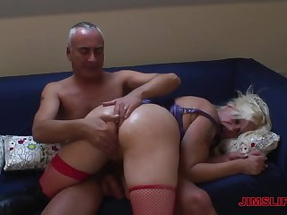 Old school couple sex with blonde mature woman Cherry Treats
