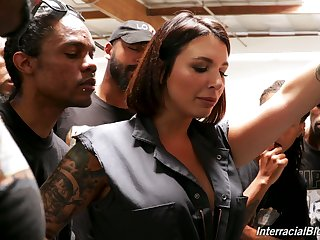 Band of black boys fuck deep throat of tattooed white hooker Ivy Lebelle