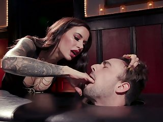 Killing hot mistress Gia DiMarco enjoys cock riding after depethroat blowjob