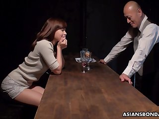 Cute girl gets herself into trouble by flirting with a horny bartender