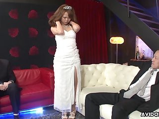 Cute Asian girl Saki is fucked and creampied by several kinky dudes