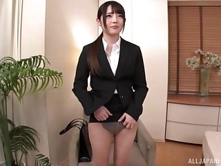 Japanese girl with amazing ass fucked and sucks a dick in the end