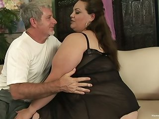 BBW facesitting and getting fucked by an older man