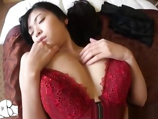 Big breasted asian in lingerie