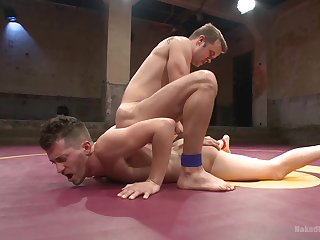 Anal in the ring between the naked gay lovers