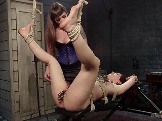 Bondage extreme during amateur femdom for two sluts