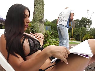 Sexy tranny in bikini Andrea Dimaggio seduces pool boy and gives him a blowjob