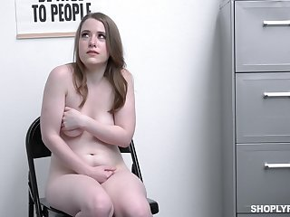 Chubby pale girl Alice Merchesi fucked for stealing from the shop