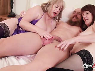 Gorgeous british matures and horny handy man hardcore threesome party