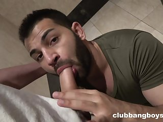 Horny gay lovers having a quickie sex in the bathroom in secret