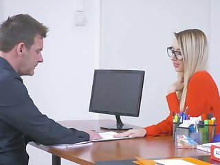 Blonde secretary Katrin Tequila in stockings pleasures her boss