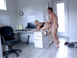 Secretary leaves the new guy to try her out for a few rounds