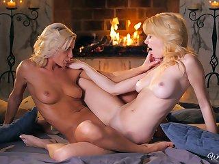Mature lesbians in blue lingerie - Niki Lee Young & Penelope Lynn