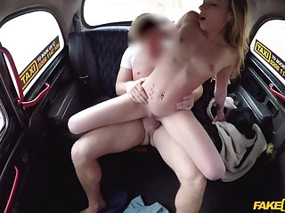 Skinny doll enjoys sex in a taxi for the first time