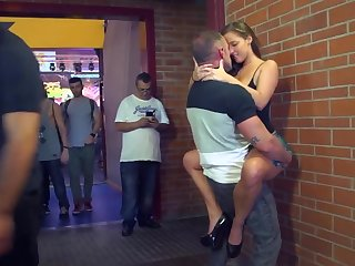 Tight pussy getting fucked in public while everyone watches
