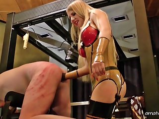 Dominant Lady Estelle wants to show to her lover what is a BDSM sex game