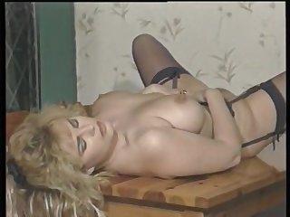 Full-Bosomed Brit Star Karen Partington Masturbates
