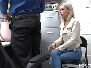 Guilty auburn slender bitch Sky Pierce is hammered by cop from behind