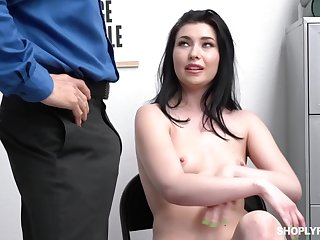 Dirty minded brunette, Aliza Haze decided to spread up for a security guy, after she was caught