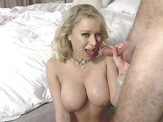 Busty Katie Morgan slobs on a knob before hardcore shagging