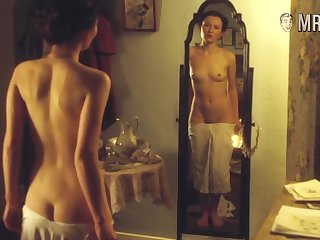 Hot celebrity enjoying her naked reflection in the mirror