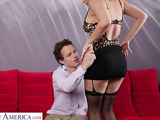 Physically perfect MILF preying on a young man and she loves being on top