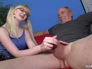 Slutty young whore wants this old male's huge dick in her ass