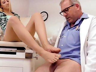 Blonde slut puts her feet around his dick