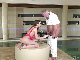 Babe uses that old man for money and she is a true cock lover