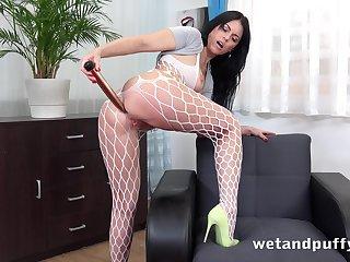 Sex insane bitch Julia Black is masturbating cunt with vaginal speculum