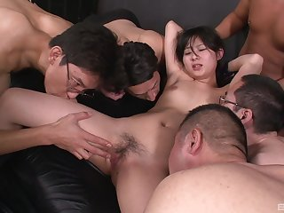 Real Asian gang bang pleasures for a shy amateur thirsty for cum
