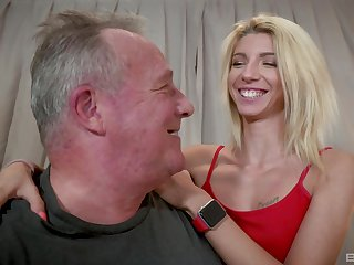 Caring blonde Missy Luv lends her body to an older man's pleasure