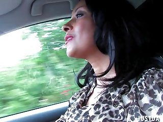 Dirty wife Danica Collins loves flashing her boobs while driving